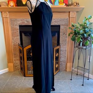 Bari Jay Black Slitted and Jeweled Gown